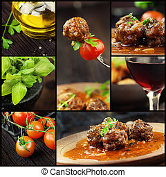 Food series. Italian food collage with meat balls and ingredients: fresh tomatoes, basil, olive oil and red wine.
