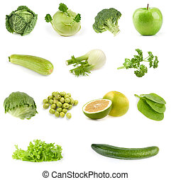 Food collection. All green. - Food collection isolated on...