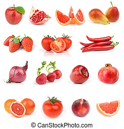 Food collection. All red. - Food collection isolated on...