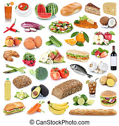 Food collection background healthy eating fruits and vegetables fruit drinks isolated