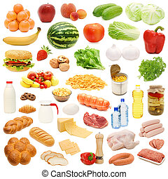 Food collection isolated on white background