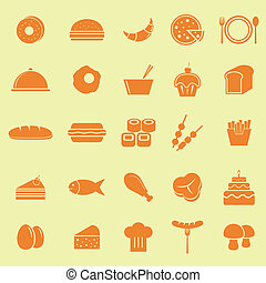 Food color icons on yellow background, stock vector