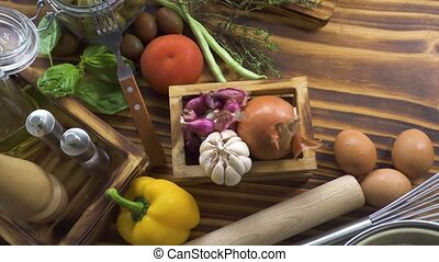 Food composition from colorful vegetables, eggs, flour for...