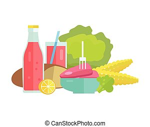 Food Concept Illustration in Flat Style Design.