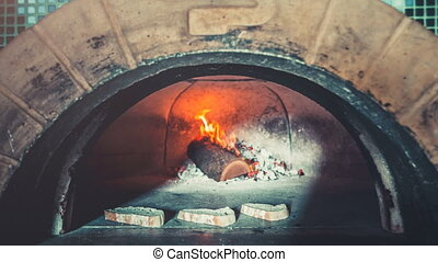 Traditional professional oven with open fire