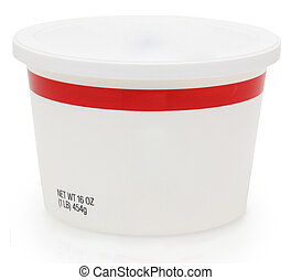 16 oz food container with blank label for text.