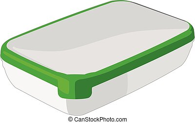 Food container green realistic vector illustration isolated
