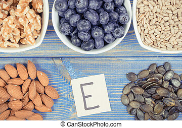 Food containing vitamin E, minerals and dietary fiber,...