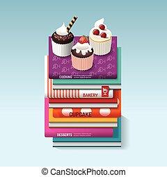 food cook books idea cupcake concept design. Vector...