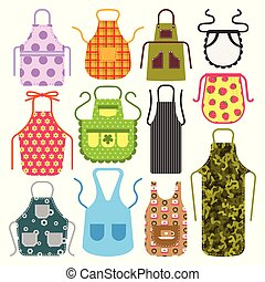 Food cooking apron kitchen design clothes housewife uniform chef cook protective textile cotton apparel vector illustration