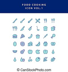 food cooking icon filled outline set vol 1
