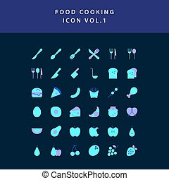 food cooking icon flat style design set vol 1