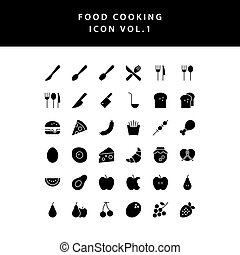 food cooking icon glyph style set vol 1