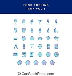 food cooking icon set filled outline set vol 3