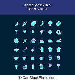 food cooking icon set flat style design set vol 2