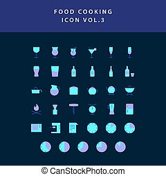 food cooking icon set flat style design set vol 3