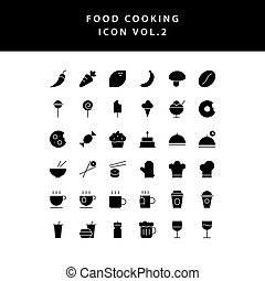 food cooking icon set glyph style set vol 2