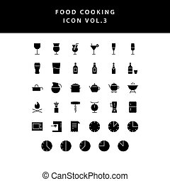 food cooking icon set glyph style set vol 3