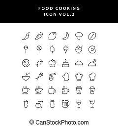 food cooking icon set outline set vol 2