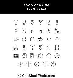 food cooking icon set outline set vol 3