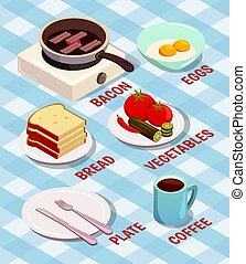 Food Cooking Isometric Composition