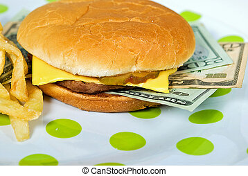 Food Cost - Money sandwiched in a cheeseburger.