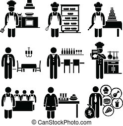 A set of pictograms showing the professions of people in food and culinary industry.