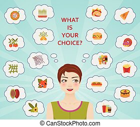 Food culture, healthy and unhealthy diets. Vector illustration