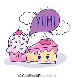 food cute cake cupcake speech bubble cartoon