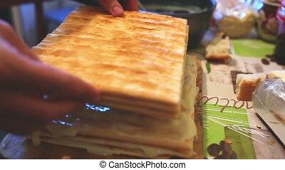 food decorated preparation chiffon sweet layer cake...