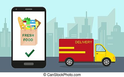 Food delivery and online order concept.
