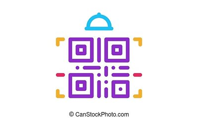 food delivery bar code Icon Animation. color food delivery bar code animated icon on white background
