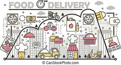 Food delivery concept vector flat line art illustration
