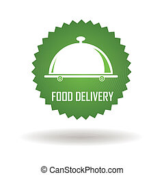 Food delivery - food delivery green label on white...