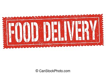 Food delivery grunge rubber stamp