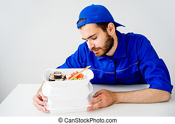 Food delivery guy wants to eat