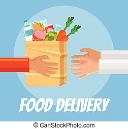 Food delivery. Hands hold food package. Courier gives food...
