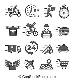 Food Delivery Icons on white background
