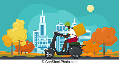 Food delivery man rides a scooter in autumn