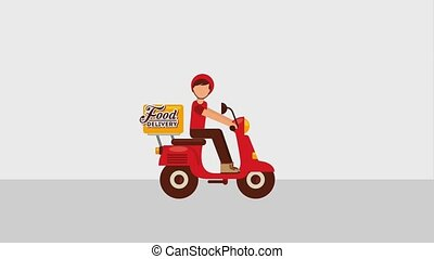 food delivery online - food delivery man riding scooter...