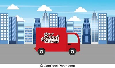 food delivery online - food delivery truck city service...