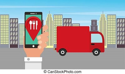 food delivery online - hand smartphone order food delivery...