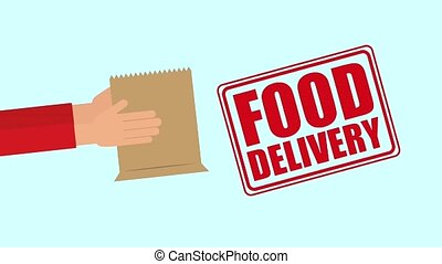 food delivery online - hands holding shopping bag food...