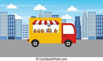 food delivery online - man chef food truck delicious menu in...