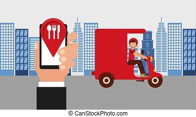 food delivery online - ordering online man in motorbike food...