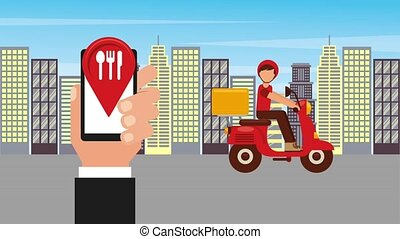 food delivery online - ordering online man in scooter food...