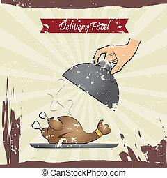 food delivery over grunge background vector illustration