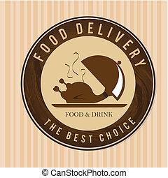 food delivery over lineal background vector illustration