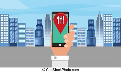 food delivery related - hand holds cellphone with map...