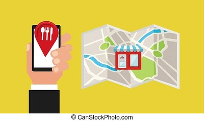 food delivery related - hand with cellphone pointer location...